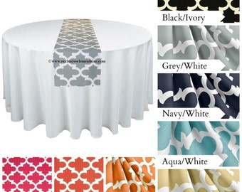 Modern Quatrefoil Table Runner Centerpiece Wedding Home Decor Lattice Trellis Gray Yellow Coral Orange Fuchsia Table Runner Fabric Linens