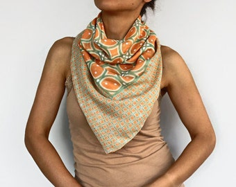 Summer Scarf, Swimsuit Pareo, Peachy Orange, Green, Lightweight, Beach, Top Wear, Soft Touch Shawl, Chunky Stole, Handmade