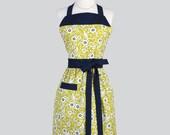Full Bib Womens Apron - Navy and Yellow Birds Full Kitchen Apron Personalize or Monogram