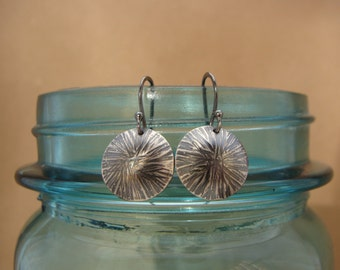 Hammered Starburst Sterling Silver Disc Earrings--Oxidized Silver--Lightweight--Handcrafted Gift Under 25