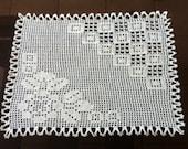 D-26. Crochet Lace Doily Wedding Doily Vintage Rectangular Crochet Doily Filet Lace  Firgural Doily Crochet  Handmade Crochet Doily