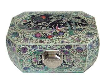 Mother of Pearl Inlay Octagonal Long Life Animal Lacquer Wooden Lock Key Jewelry Trinket Treasure Keepsake Chest Box Case Holder Organizer