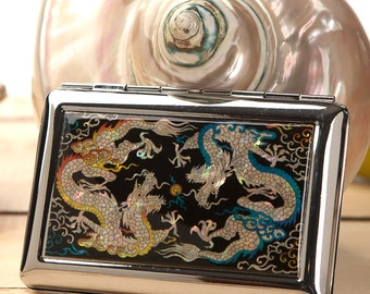 Mother of Pearl Yellow Blue Two Dragon Design Thin Slim Engraved Metal Men Cigarette Tobacco Case Holder Box Storage Wallet