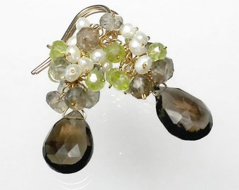 Peridot and Smoky Quartz Earrings, Peridot Earrings, Peridot Cluster Earrings