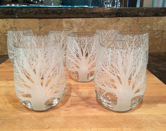 Four Auburn, Toomer's Corner, tree of life,etched wine glasses