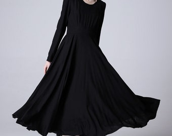 Black maxi dress,Black linen dress,long linen dress, womens dresses, ladies clothing, long sleeve dress,fit and flare, Made to order 1168