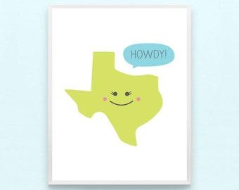 Texas State Nursery Art Print - Home, Lone Star, Howdy, Southern Kids Playroom Art, Boys, Girls, Childrens Art, Minimalist, Modern
