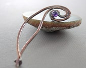 Copper spiral design shawl pin with textured hammering and amethyst stone - Select other stone - Amethyst pin