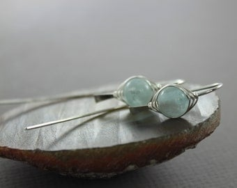 Funky blue aquamarine sterling silver earrings in stylish bent hook design with aquamarine stones - Aquamarine earrings - Threader earrings