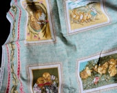 """Victorian Easter postcard fabric Peeps by Mary Anne Henderson from Red Hen fabrics, 51"""""""