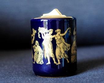 cool cobalt blue desktop lighter with golden Greek figures