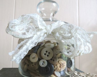 Vintage Apocathery Glass Jar Filled with Instant Collection of Vintage and Antique Buttons