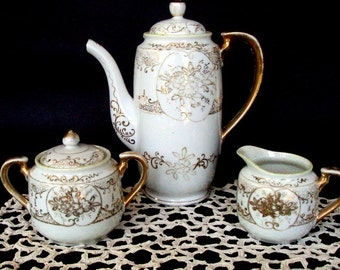 Vintage Japan Porcelain Chocolate/Coffee Set,1920s TT Mark,22K Gold Moriage and Handpainted Dogwood Design,Dining & Serving, Takito Company