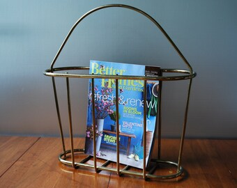 Vintage Brass Plated/ Gold Tone  Magazine Rack - Hollywood Regency - Modern - Totally Tubular :)