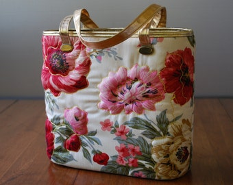 Vintage Quilted Floral Bucket/ Tote Bag - Dalill - 1970's - Hollywood Regency