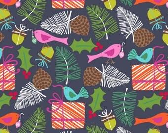 SALE - Blend Fabrics - Treelicious Collection - Mistletoe in Navy