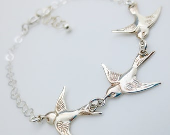 Solid Sterling Silver Three Flying Birds Bracelet