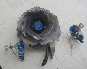 Vintage Blue Flower Brooch Earring Set Rhinestone