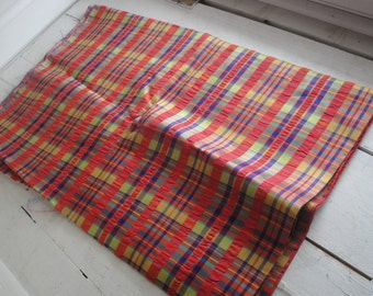 Vintage Rayon Plaid Fabric 3.5 Yards