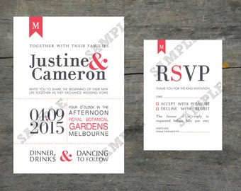 Modern Typography Wedding Invitation Set DIY Printable