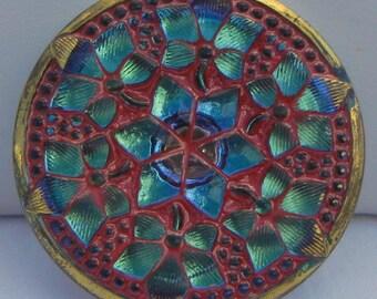 Six Flowers Czech Glass Button