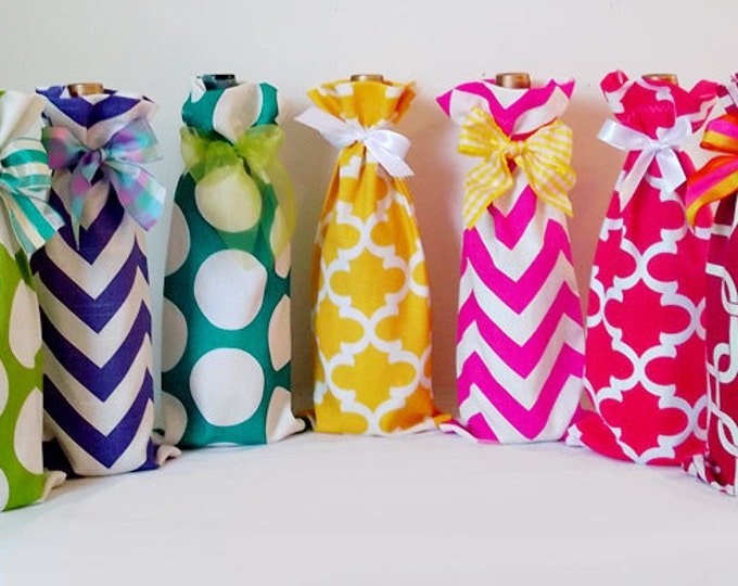 3 Wine Bags, Wine Sack, Wine Caddy, Wedding, Bachelorette Party, Hostess Gift, Aqua Chevron, Hot Pink Dots, Design Your Own