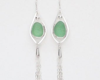 Sea Glass Jewelry - Sterling Green Sea Glass Earrings with Tassels