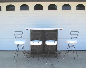 Mid Century Bar and Barstools, Black and White, Modern