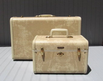 Mid Century Samsonite Train Case and Over Nighter Suitcase