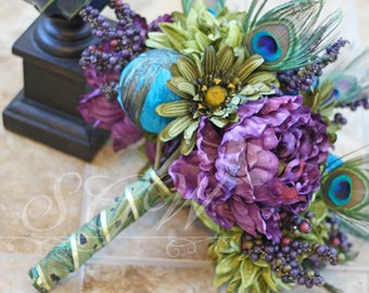 Custom Listing for Amber - Peacock Wedding Bouquet and Boutonniere Set