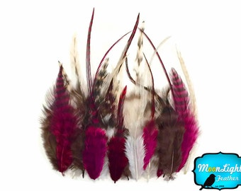 Rooster Feathers, 2 Dozen - SHORT CLARET MIX  Grizzly Rooster Hair Extnesion Feathers : 306