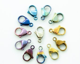 1 Titanium Lobster Clasp - Teardrop Style - Small, Medium or Large - Anodized - 100% Guarantee