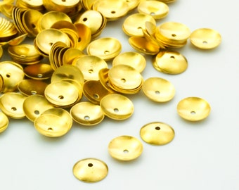 50 - Solid Brass 7mm Bead Caps - 100% Guarantee
