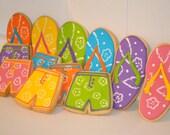 Flip Flop Board Shorts hand decorated sugar cookies - 12 cookies