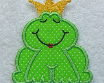 Frog Prince Fabric Embroidered Iron On or Sew On Applique Patch Ready to Ship