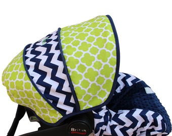 Infant Car Seat Cover Lime Quatrefoil with Navy