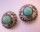 Vintage Faux Turquoise & Silver Tone Clip Earrings Costume Jewelry Jewellery