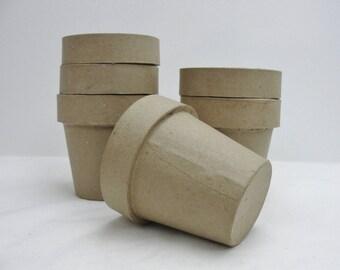 """Paper mache flower pot, 4"""" flower pot, set of 6"""