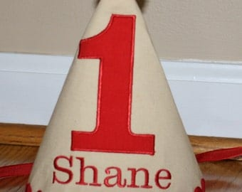 little boys first birthday hat, boys 1st birthday hat, tan, red, cake smash outfit, boys hat, personalized birthday hat, photo prop