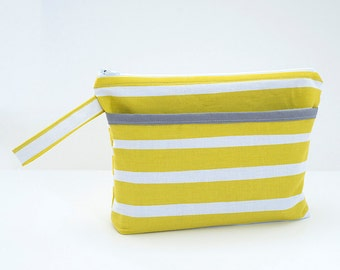 Citron Stripe Diaper Clutch