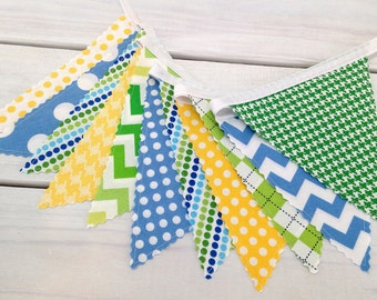 Banner Bunting, Photo Prop, Fabric Flags, Baby Boy Nursery Decor - Blue, Yellow, Lime Green, Blue, Chevron