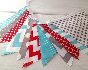 Bunting Banner, Photo Prop, Fabric Flags, Birthday Decoration, Nursery Decor, Garland, Pennant - Gray, Red, Aqua Blue, Grey, Chevron, Dots