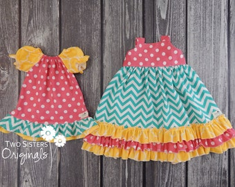 Boutique Tie-Back Ruffle Dress & Peasant Dress - Spring/Summer- Sunshine Picnic - Matching Sister Outfits