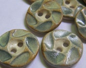 Blue/grey ceramic buttons--set of 8