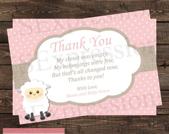 Cute Little Lamb Baby Shower Thank You Card