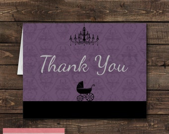 Purple and Black Baby Buggy Baby Shower Folded Blank Thank You Card