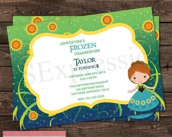Sunflower Princess Birthday Party Invitation