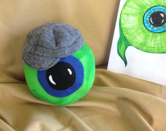 """Limited Quantity, Jack Septic Eye Plushie!  With Grey Newsboy Hat! 5.5"""" Round Plush Ball/Toy. jacksepticeye Youtuber, Cotton Fabric."""