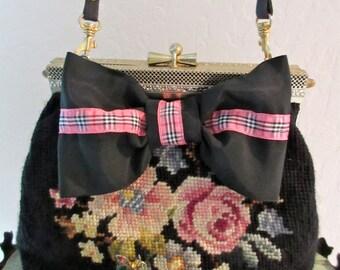 Vintage Needlepoint Roses Handbag, Evening or Casual, Crossbody, Bow