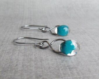 Dark Aqua Earrings, Dark Teal Dangle Earrings, Infinity Earrings, Sterling Silver Earrings, Glass Drop Earrings, Silver Oxidized Earrings